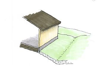 TERRENGFALL: Terrenget skal falle ut fra huset, slik det er illustrert her.