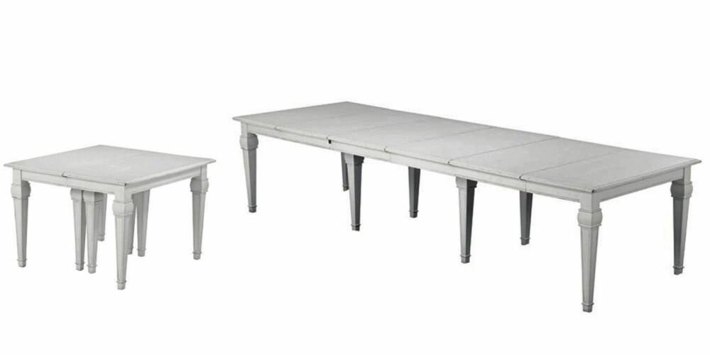 GAMMELT PÅ LIKSOM: Utrekksbordet Valencia fra Living er behandlet på en måte som gjør at det virker gammelt, b: 120 cm x 110-350 cm, kr 9995.