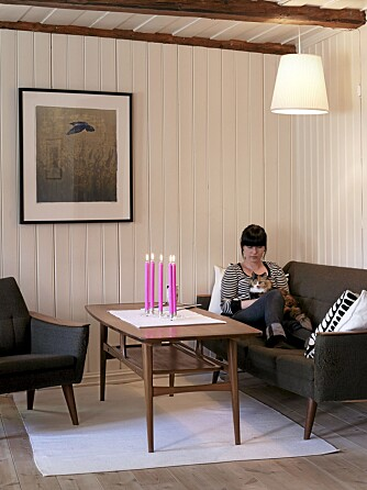 GJENBRUK OG ARV: Både bygningsmaterialer og innbo er av eldre årgang. Femtitallsmøblene har Solveig arvet fra sin bestefar.