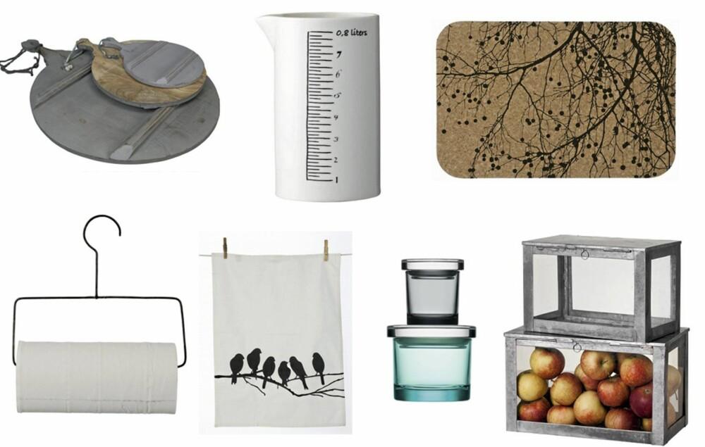 INTERIØR TIL KJØKKENET: Hva med et landlig målebeger, rustikke serveringsbrett eller industrielle oppbevaringsbokser? Alle disse produktene koster under 200 kroner.