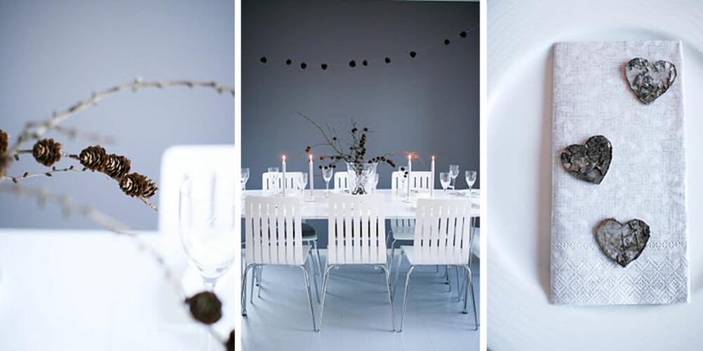 VINTERHVITT: Kristina Landro bruker kongler og hjerter som dekorasjon på sitt nyttårsbord.