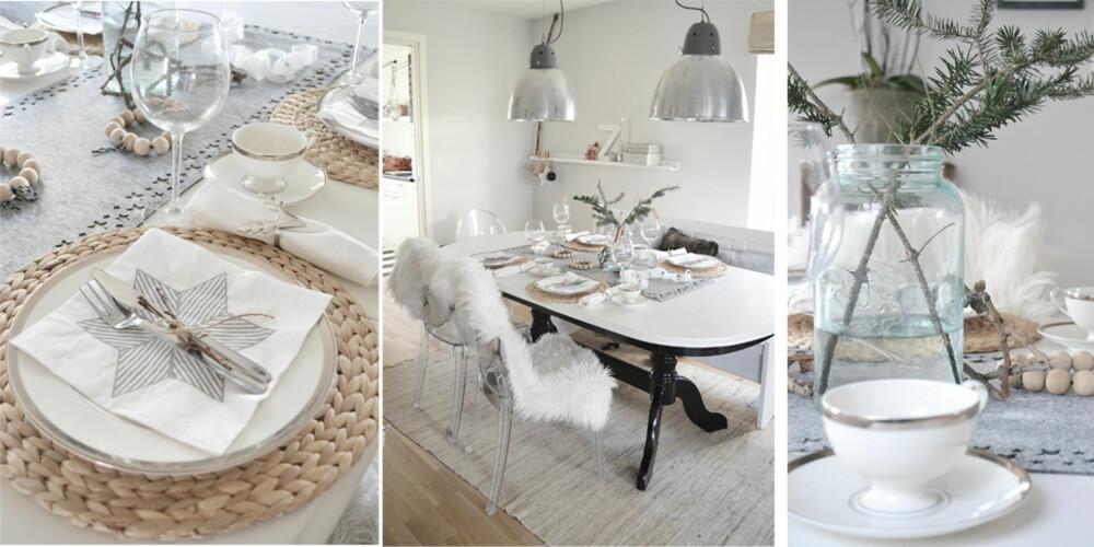 VINTERHVITT: Silje Husebø dekker festbodet sitt med duse farger, elementer fra naturen og de lekreste bordkort.