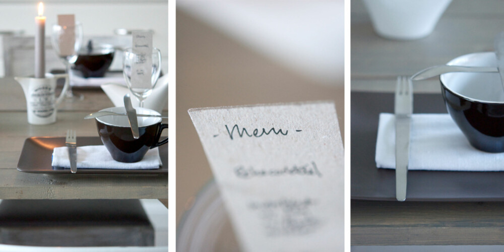 NATURLIG: Manuela Hardy med den populære interiørbloggen mrs-hardy har dekket festbordet i nøytrale farger og stram form.