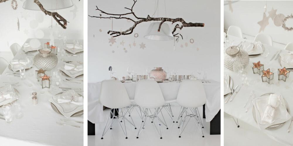 HVITE DRØMMER: Tonje Kyte har dekket nyttårsbordet sitt i hvitt og sølv - et bord det stråler av.