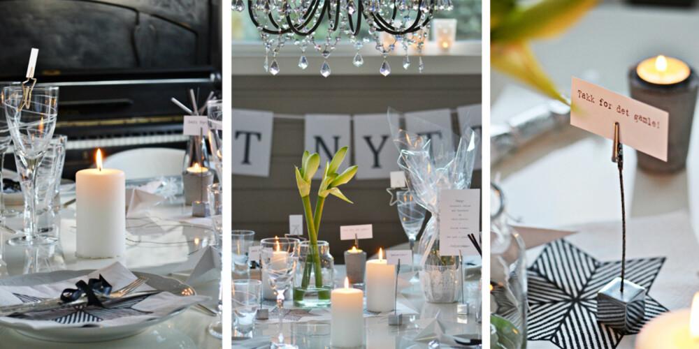 SI DET MED ORD: May Helen Kro dekker nyttårsbordet med fine ord og farger i sort/hvitt.