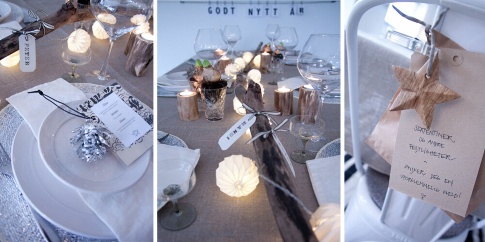 GAVER OG BOKSTAVER: Nyttårsbordet til Randi har blitt gjort personlig og flott med små gaver, bordkort og laminerte menyer.