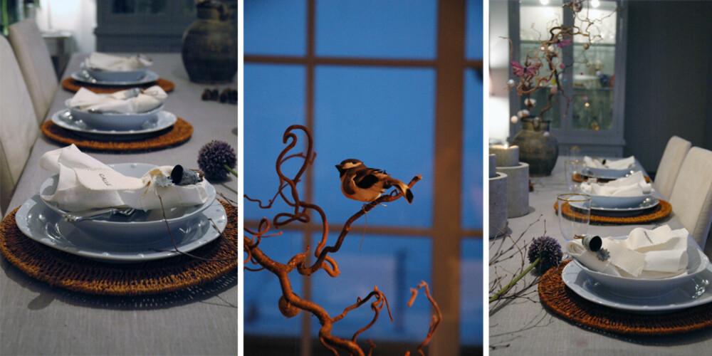 NATUR: Anette Willemine bruker blåtoner, kvister og småfugler for å gjøre nyttårsbordet stemningsfullt.