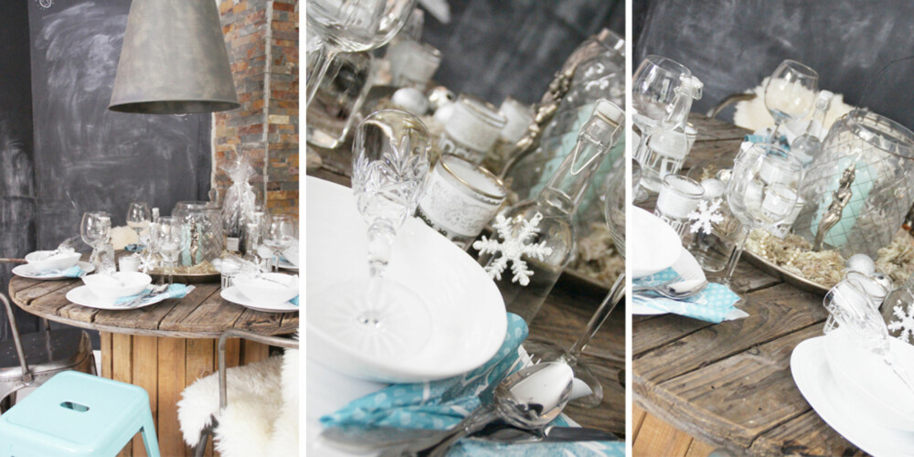 RÅ RUSTIKK: Amalie har dekket til fest på sitt røffe kjøkkenbord. Pynten er i sarte hvit- og blåtoner. Resultatet? En vakker fusjon mellom industri og nostalgi.