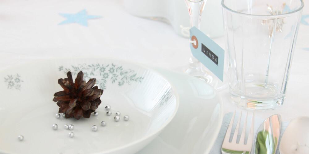 DELIKAT: Duse blå-og gråtoner kjennetegner dette nyttårsbordet. Stjerner og kongler gir den rette vinterfølelsen.