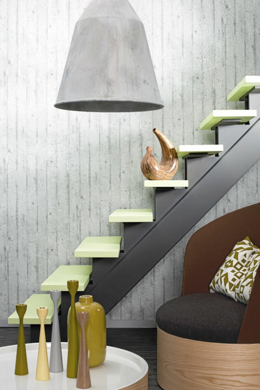 PASTELL OG BETONG: Du kan bruke farger sammen med betong. Det blir en særlig spennende kontrast hvis du velger pastellnyanser.