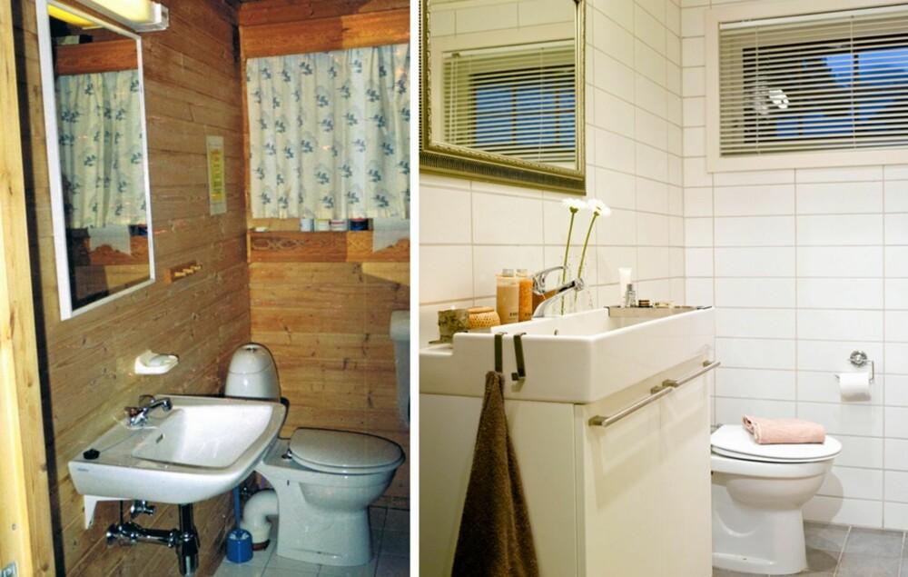 STUSSLIG: Det gamle badet trengte sårt en fornyelse, og det nye badet er nesten ikke til å kjenne igjen. Vegger og gulv har fått nye fliser, og den gamle baderomsinnredningen er byttet ut. Rommet er også forstørret med noen centimeter.