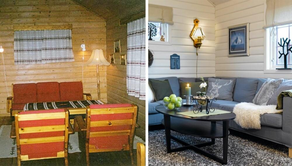 SLITEN UTLEIEHYTTE: Vegger og tak i hytta var gule, interiøret var utdatert og gulvet var slitt etter mange år med utleie.