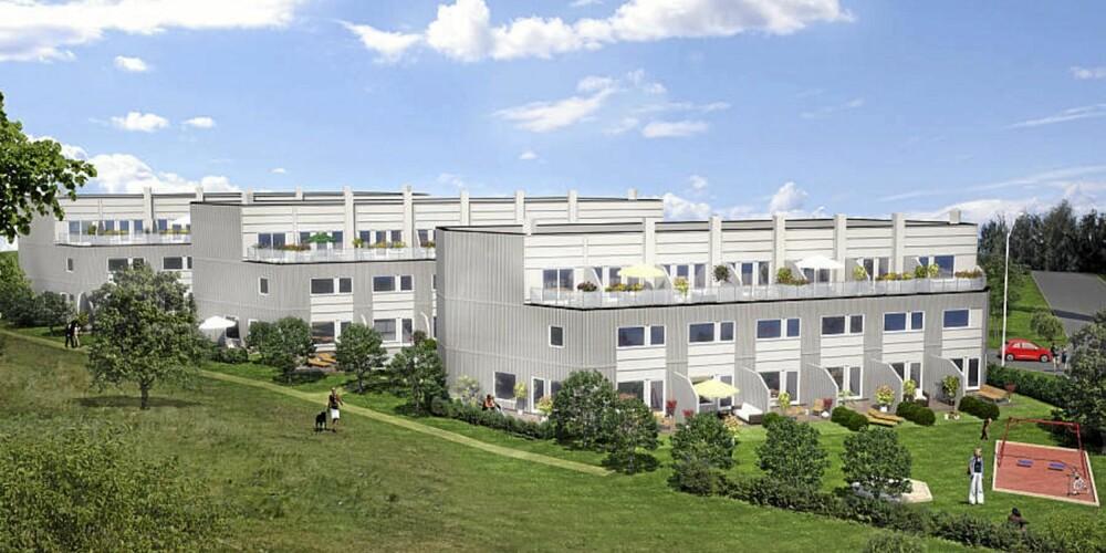 NYTT REKKEHUS: Dette enderekkehuset på Manglerud på Oslo øst skal nå bygges og ligger ute til salgs for 5 390 000 kroner. Primærrom 126 kvm.