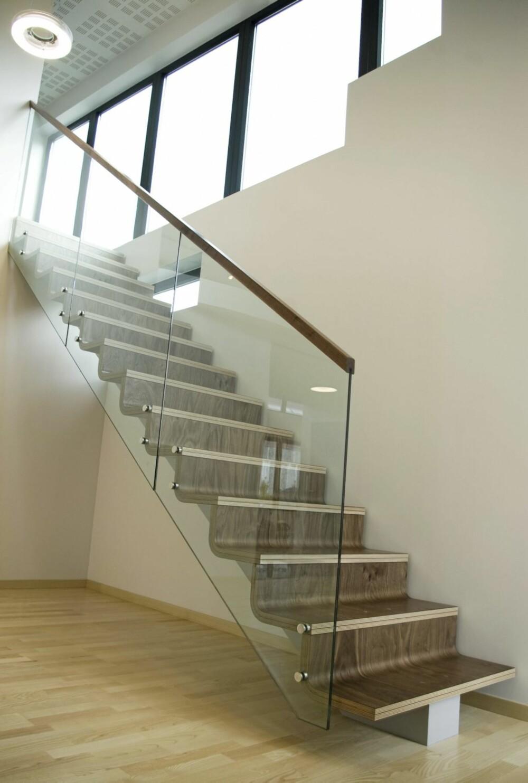 UNIK DESIGN: Trappen er laget med trinn og opptrinn i samme del, av formpresset tre