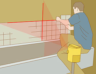 Linjelaser: Med linjer i kryss blir flisene rette begge veier.