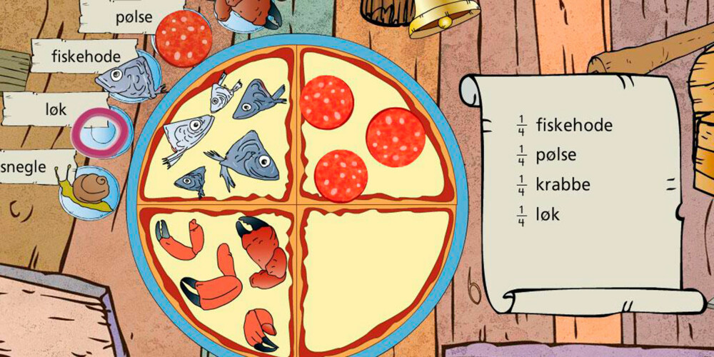 PIZZAMATTE: I dette spillet skal man fordele riktig antall ingredienser på en pizzabunn.