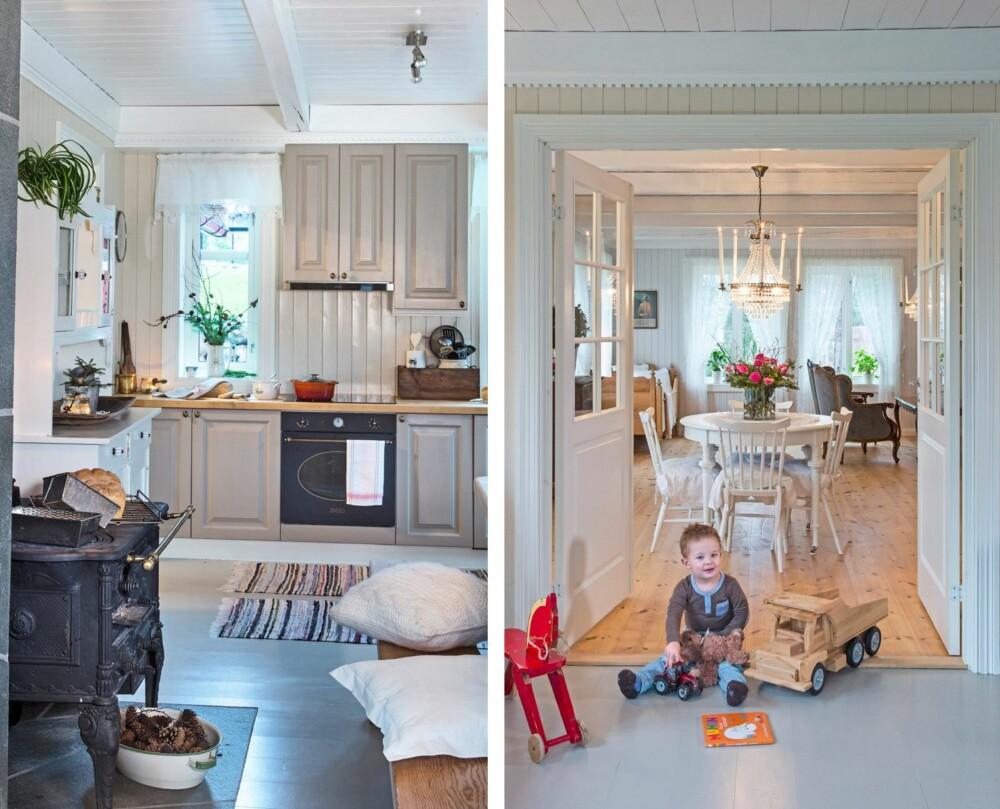 KJØKKEN: Oddvar har bygd kjøkkeninnredningen selv, ved hjelp av sin tante. Innredningen er malt i fargen Marrakech. STUE: Et rundt bord midt i rommet gir storsalfølelse og er flott om man har store nok rom til det. Når paret åpner dobbeltdørene inn til stua blir det nesten som ett stort rom. Her er det god plass for lek og moro for store og små.