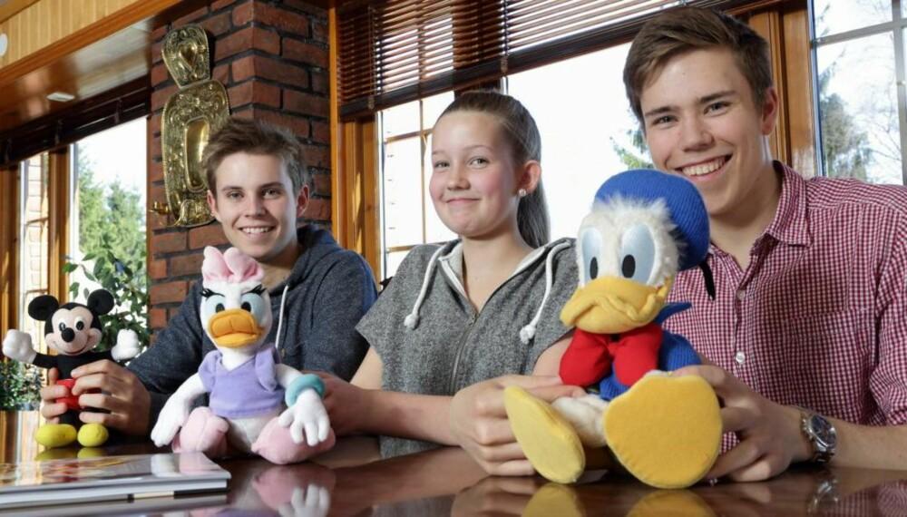 FLOTTE ANDEBY-NAVN: Scott Mickey, Celine Dolly og Kim Donald fikk alle mellomnavn hentet fra pappas favorittegneserie.