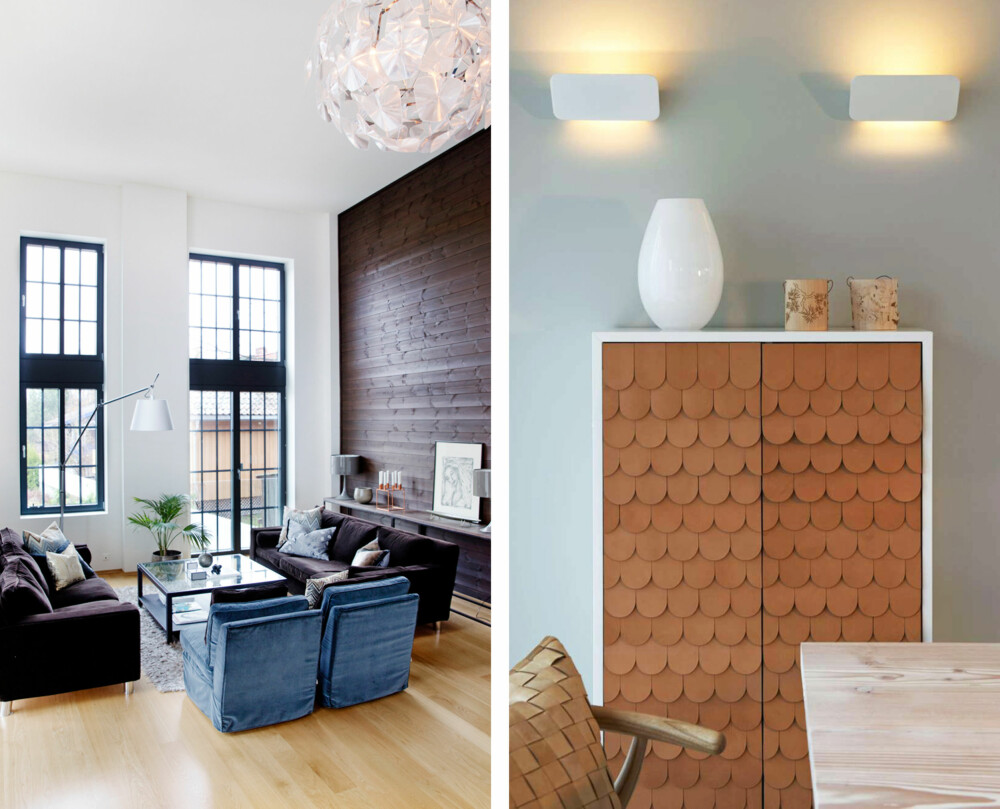 BELYSNING: Belysning i forskjellige høyder gir et spennende resultat når du innreder. På bilde til venstre er det både en takpendel, små bordlamper, og en stor stålampe. Du kan endre romfølelsen med belysning. Er det høyt under taket som på bilde til høyre, kan du understreke dette ved å lyssette taket – eller dempe det ved å montere lyset lavt. Luceplan-lampene sender her lyset oppover.