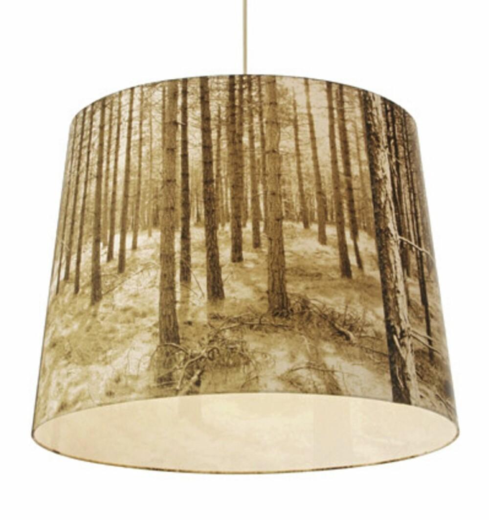 LAMPE: Både motiver og farger fra skogen er siligt i innredningen.