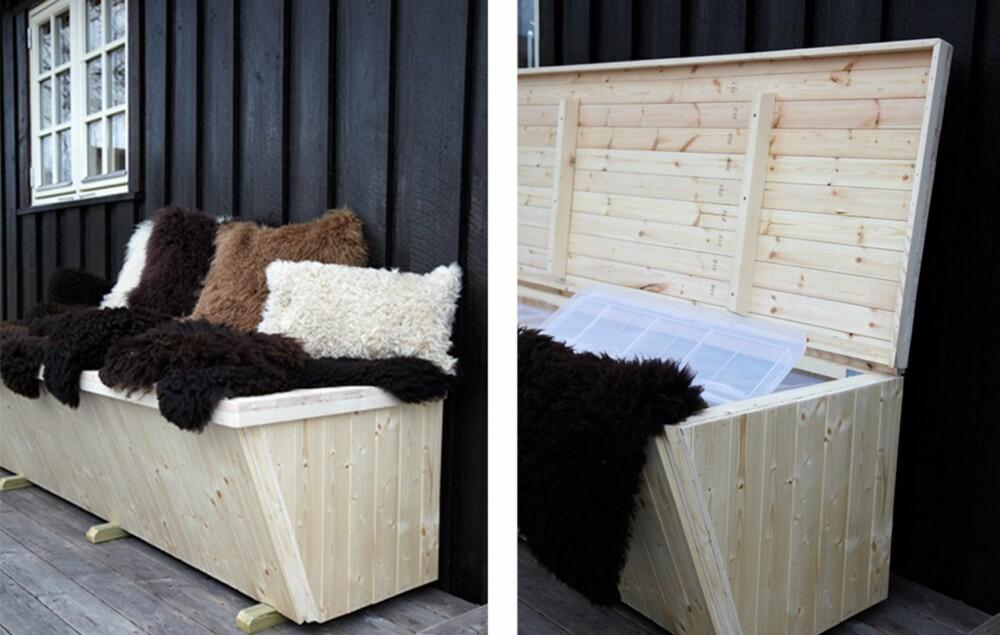 BENK MED OPPBEVARING: Lag en utebenk med oppbevaringsplass til puter, skinn og pledd.