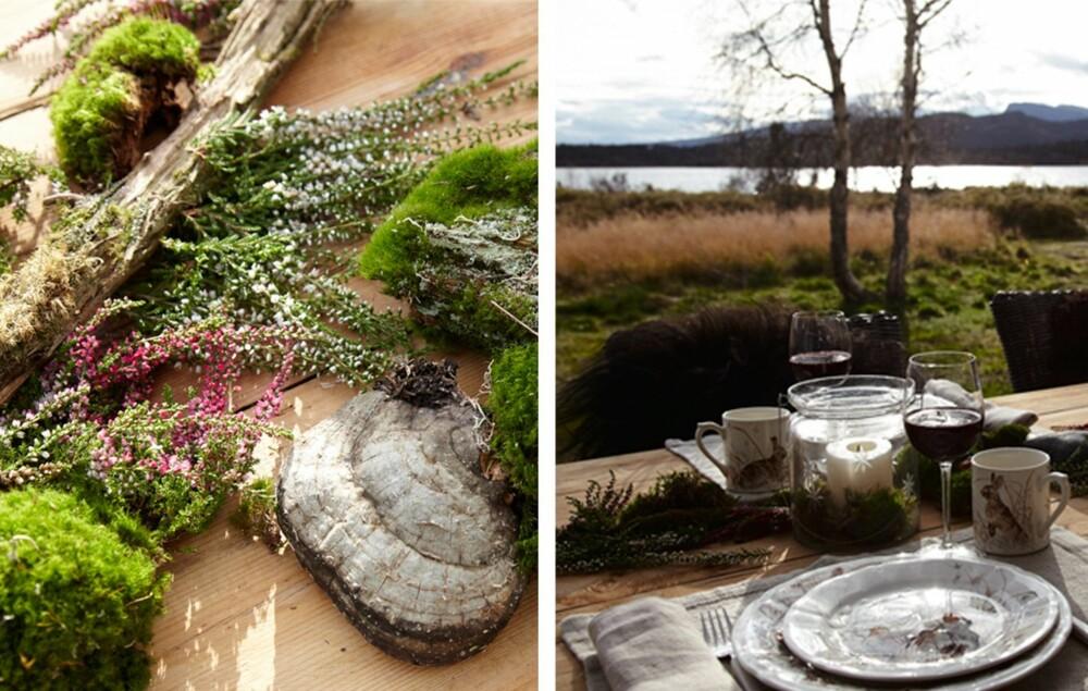 DEKORATIVT: Pynt uteplassen med høstens farger, kongler, kvist og stein.