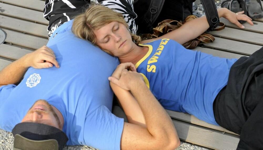 RETT MAT? Trøtte svenske turister under Beijing-OL i fjor. Riktig mat får kroppen til å våkne.