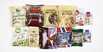 NØTTEMIKS: DinKost og ShapeUp har vurdert næringsinnholdet i 12 typer nøtteblandinger.