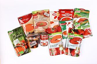 TEST AV TOMATSUPPE: Vi har testet 12 ulike tomatsupper. FOTO: Bjørn Inge Karlsen