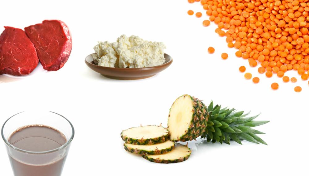 MAT SOM GIR MUSKLER: Mat med høyt innhold av protein. ILLUSTRASJONSFOTO: Colourbox