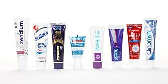 TEST AV TANNKREM: Vi har testet åtte ulike tannkremer som alle påstår at de gir hvitere tenner. FOTO: Petter Berg