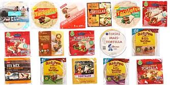 TEST AV TORTILLALEFSER: Vi har testet 16 tortillalefser. FOTO: Bjørn Inge Karlsen