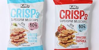 CHIPS MED FULLKORN: KiMs Crisps reklamerer med 60 prosent fullkorn og 30 prosent mindre fett. Men saltinnholdet får ernæringsfysiologene til å reagere.