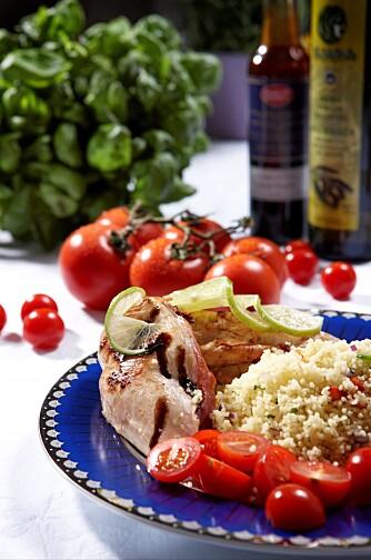 Kyllingfilet med soltørkede tomater er et godt valg.