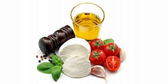 MIDDELHAVSINGREDIENSER: Grove kornvarer og brød, poteter, fersk frukt og grønnsaker, olivenolje, nøtter og belgfrukter, krydder, moderat med fisk, hvitt kjøtt og rødvin