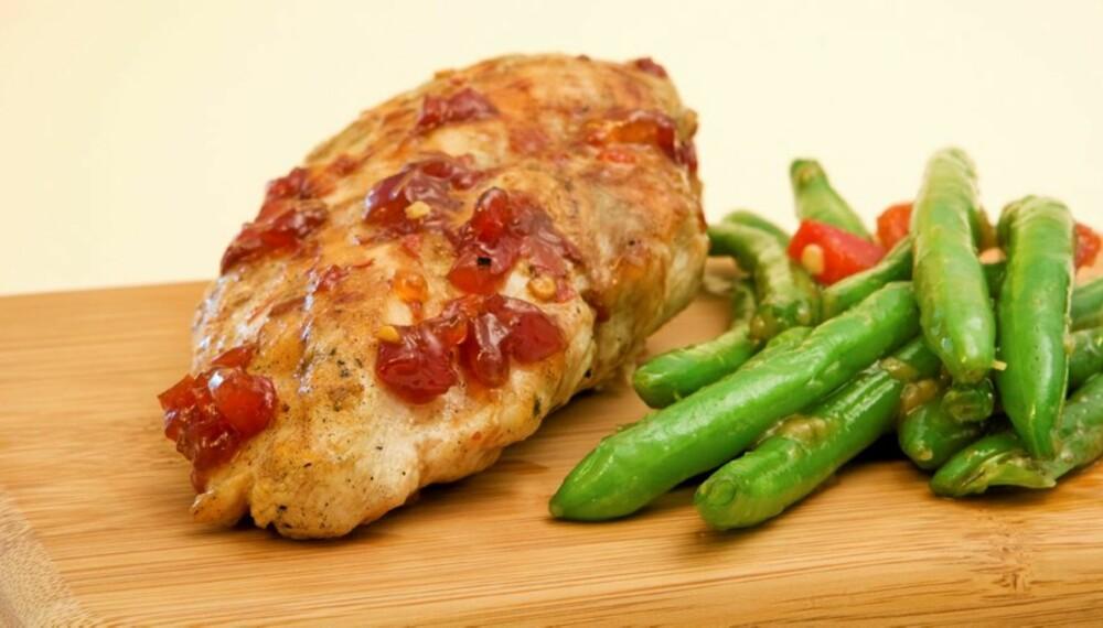 MIDDAG: Lavglykemisk måltid med marinert kylling med bønner