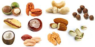 NØTTER ER SUNT: Vet du alle helsefordelene i de ulike nøttesortene? Nøtter er sunt, men begrens inntaket - de er kaloririke! ILLUSTRASJONSFOTO: Colourbox