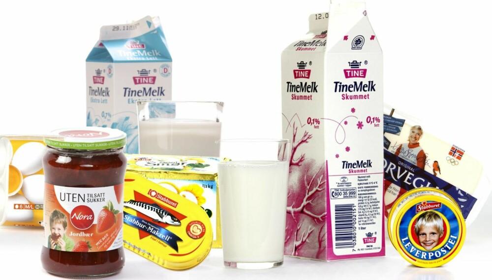 I KJØLESKAPET: Her tar vi en titt på et bredt spekter av vanlige, norske matvarer: leverpostei, syltetøy, egg, smør, melk, ost og makrell i tomat.