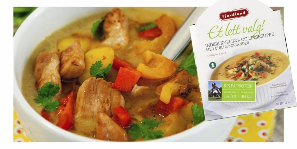 FJORDLAND-MIDDAG: Suppen er sunn i seg selv, men er litt tynn som middag og trenger ekstra fylde i form av kyllingkjøtt og grønnsaker.