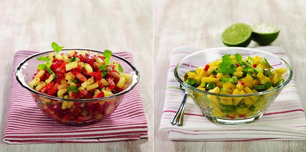 DEILIG SALSA: Hva med jordbær- eller mangosalsa som tilbehør til grillmaten? Sunt og supergodt!
