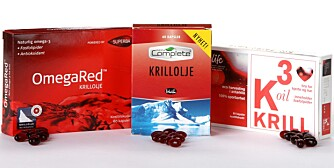 KRILLOLJE: Klikk Helse og bladet Bedre Helse har sett nærmere på innholdet i tre utvalgte krilloljekapsler. Fra venstre OmegaRed (Medica Nord AS), Krillolje (Weifa AS) og K3 oil Krill (Life Scandinavia AS).