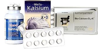 KALSIUMTILSKUDD: Fra venstre Trippel KalMag (Biopharma AS), Weifa Kalsium (Weifa AS) og Bio-Calcium+D3+K (Pharma Nord).