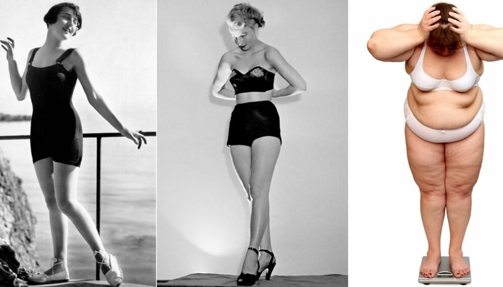 FRA FORMFULL TIL FORMLØS: Kvinner med former, smalt liv og runde hofter, var den typiske kvinnekroppen på 50-tallet. Problemet for veldig mange i dag er at kroppsformen er blitt rund både i livet og over hoftene.