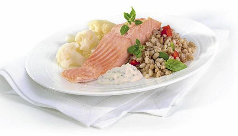 LAKS: Denne nøkkelhullmerkede laksemiddagen fra Fjordland inneholder 475 kcal, mens den tradisjonelle inneholder 411 kcal.