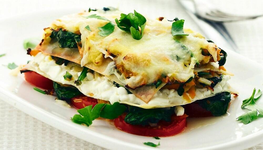 VEGETARLASAGNE: Gir 3,5 porsjoner grønnsaker - av de 5 du trenger.