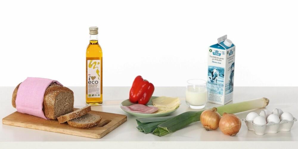 STUDENTMIDDAG 1: Omelett med skinke, ost og grønnsaker.
