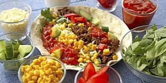 MIDDAG: Taco er lavkarbo-mat. Hvis du vil ha tortillalefse til, sørg for å velge en grov variant.