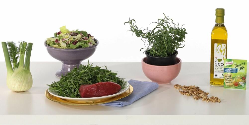 SAMBOERMIDDAG 1: Biff med salat, sjysaus og bakt fennikel.