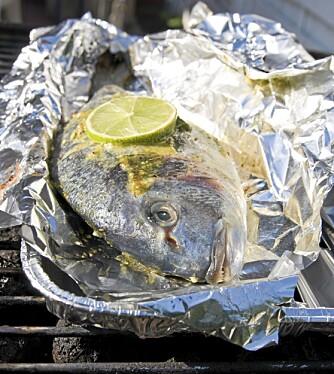 BESKYTTER: Steker du fisk eller kjøtt i folie på grillen, blir maten beskyttet mot mutagener.