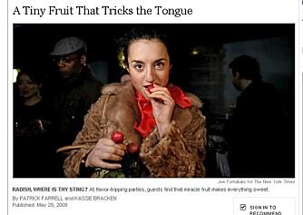 DEILIGE REDDIKER: Amerikanske Carrie Dashow nyter en klase reddiker på mattrippingparty i Queens, New York.